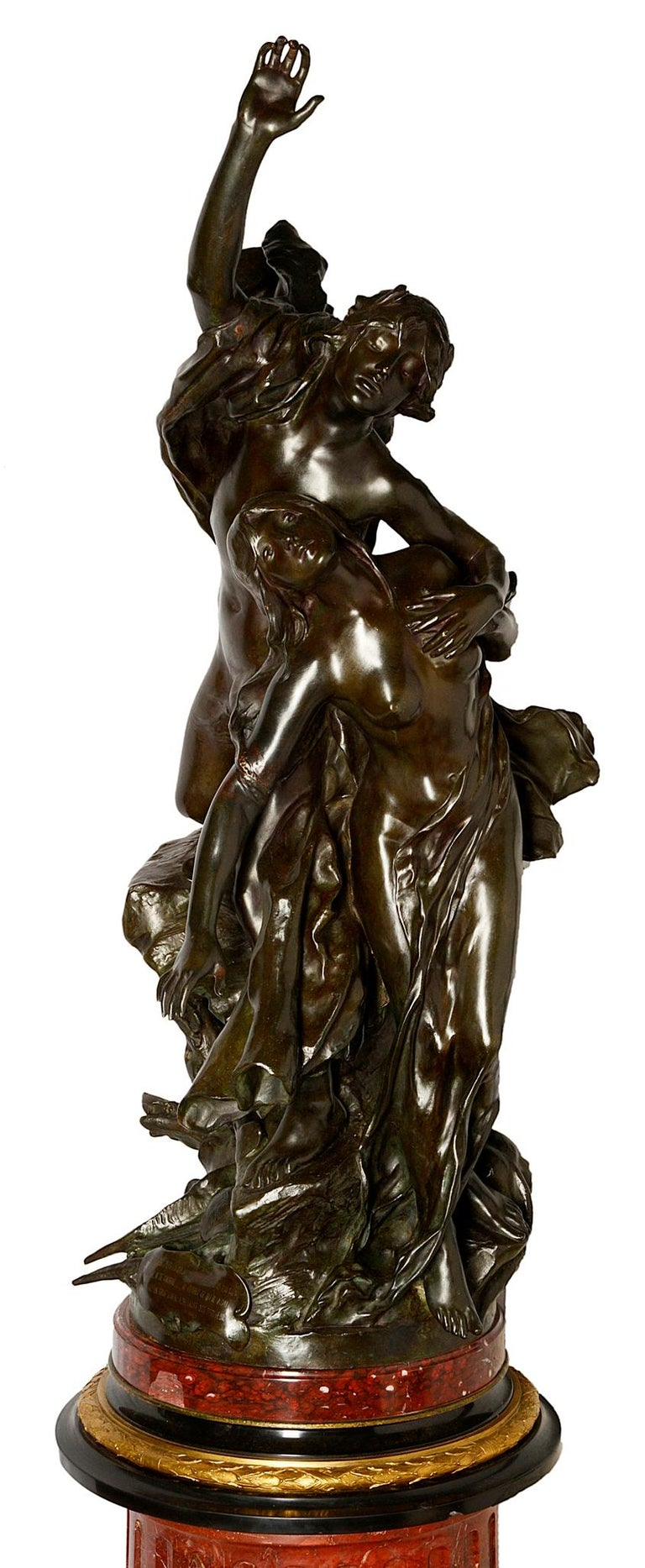 A very impressive classical 19th century bronze statue of god like semi-nude figures reaching for the sky, with a hound at their feet.