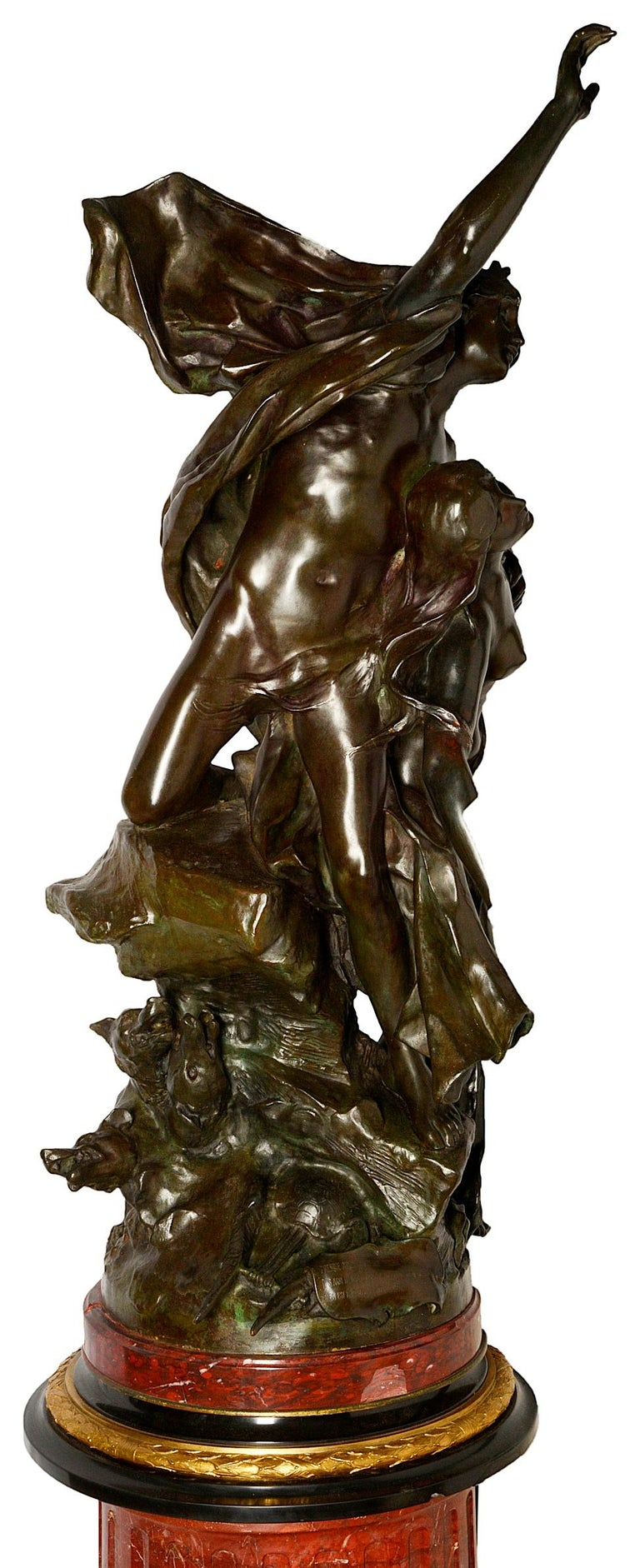 Classical Greek Large Classical Semi Nude Bronze Figures Mounted on Marble Pedestal, circa 1880 For Sale