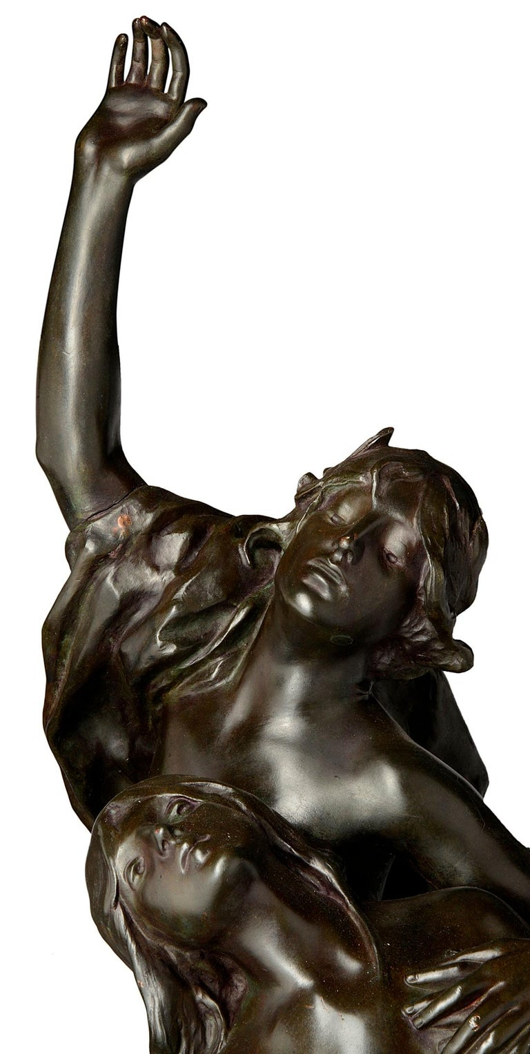 Large Classical Semi Nude Bronze Figures Mounted on Marble Pedestal, circa 1880 For Sale 3