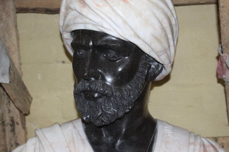 Large Classical Style Carved Marble Bust of Turbaned Man In Excellent Condition For Sale In Worcester, Worcestershire
