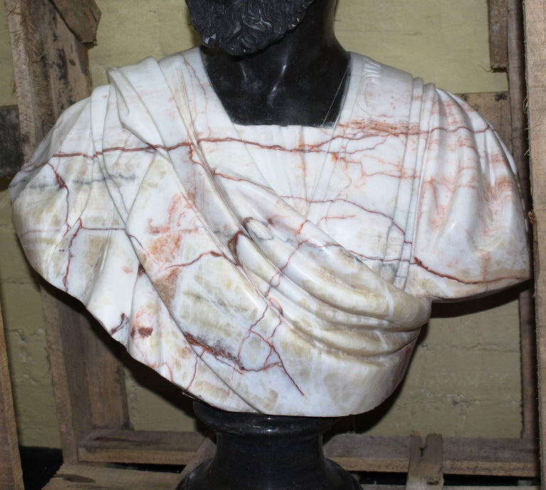 20th Century Large Classical Style Carved Marble Bust of Turbaned Man For Sale