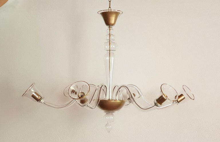 Large Clear And Gold Murano Glass Mid Century Modern Chandelier By Cenedese