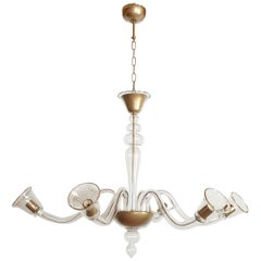 Large Clear and Gold Murano Glass, Mid-Century Modern Chandelier by Cenedese