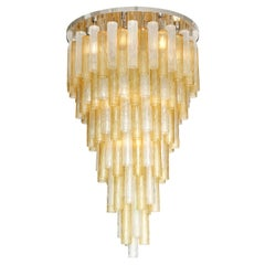 Large Clear and Gold Tiered Murano Glass Tube and Chrome Chandelier, Italy, 2019