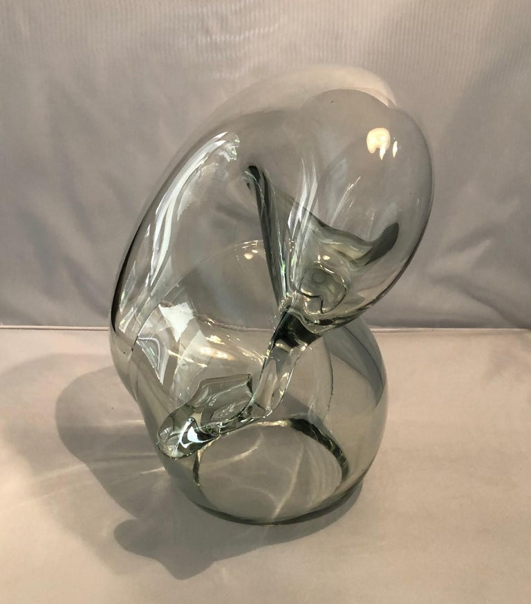 Organic Modern Large Clear Art Glass Orb Sculpture by John Bingham For Sale