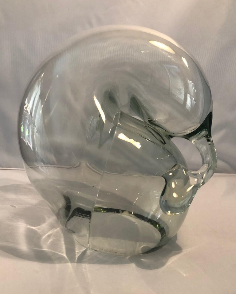 20th Century Large Clear Art Glass Orb Sculpture by John Bingham For Sale