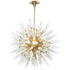 Large Clear Glass and Brass Sputnik or Starburst Chandelier, Italy
