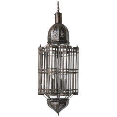 Large Clear Glass Moorish Mamounia Pendant Chandelier, Clear Glass