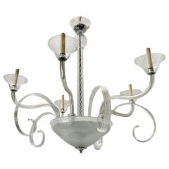 Large Clear Glass Murano Chandelier