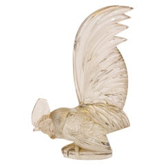 Large Clear Glass Rooster Car Mascot 'Coq Nain' by René Lalique, circa 1928