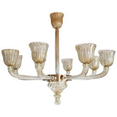 Large Clear & Gold Mid-Century Modern Murano Glass Chandelier, Venini Style 1970