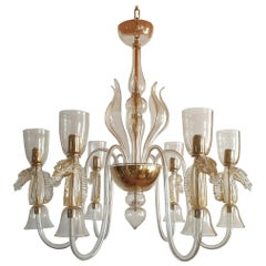 Large Clear & Gold, Horses Decor Murano Chandelier, Seguso Style Italy 1960s