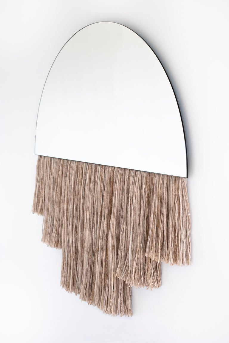Large Clear Mirror with Fiber, Contemporary Half Moon Mirror by Ben & Aja Blanc For Sale 2