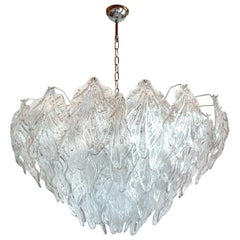 Large Clear Murano Glass Leaves Mid-Century Modern Chandelier, Barovier Style