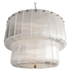 Large Clear Murano Glass Round Chandelier in the Style of Barovier & Toso, Italy