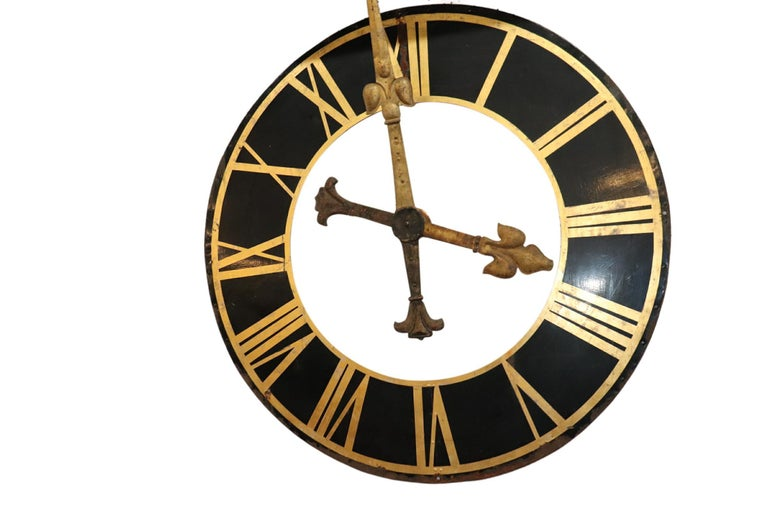 Cut Steel Large Clock Face, with Gilt Iron Hands For Sale