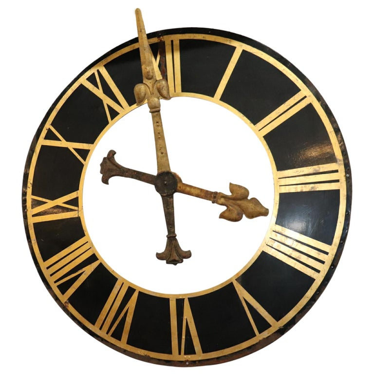 Large Clock Face, with Gilt Iron Hands For Sale