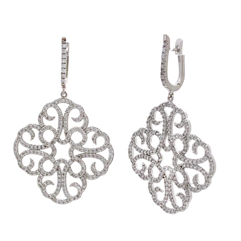 Contemporary Large Clover Faux Diamond Drop Sterling Silver Earrings For Sale