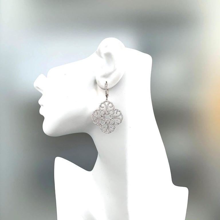 Women's Large Clover Faux Diamond Drop Sterling Silver Earrings For Sale