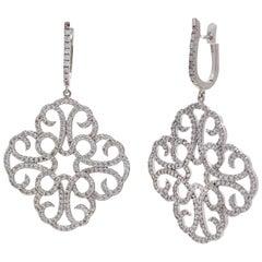 Large Clover Faux Diamond Drop Sterling Silver Earrings