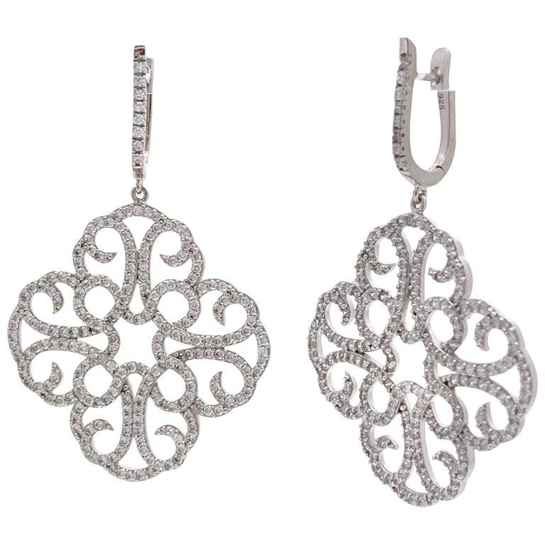 Large Clover Faux Diamond Drop Sterling Silver Earrings For Sale