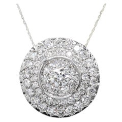 Large Cluster Diamond Pendant 18k Gold Round Circle of Diamonds Necklace