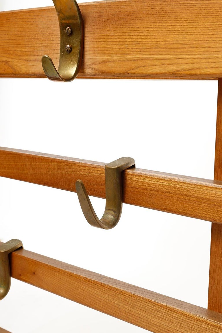 Large Coatrack Wardrobe Carl Auböck Brass Hooks, 1950s In Good Condition For Sale In Graz, AT