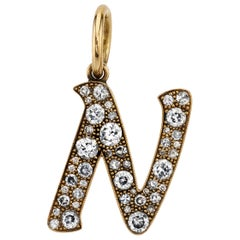 Large Yellow Gold Cobblestone Diamond Letters