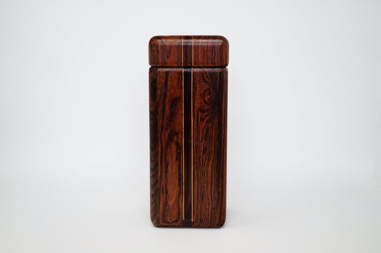 This incredible Cocobolo Rosewood large lidded catchall box by leading 1960s modernist designer Don Shoemaker for Senal S.A. is sought after by interior designers and avid collectors alike. This larger sized example is particularly perfect for the