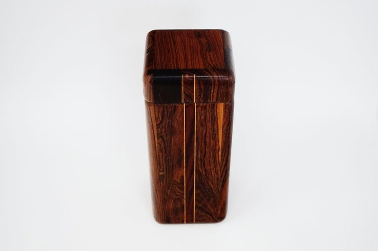 Mid-Century Modern Large Cocobolo Rosewood Lidded Box by Don Shoemaker for Senal S.A., Signed For Sale