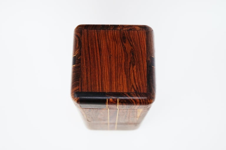 Mexican Large Cocobolo Rosewood Lidded Box by Don Shoemaker for Senal S.A., Signed For Sale