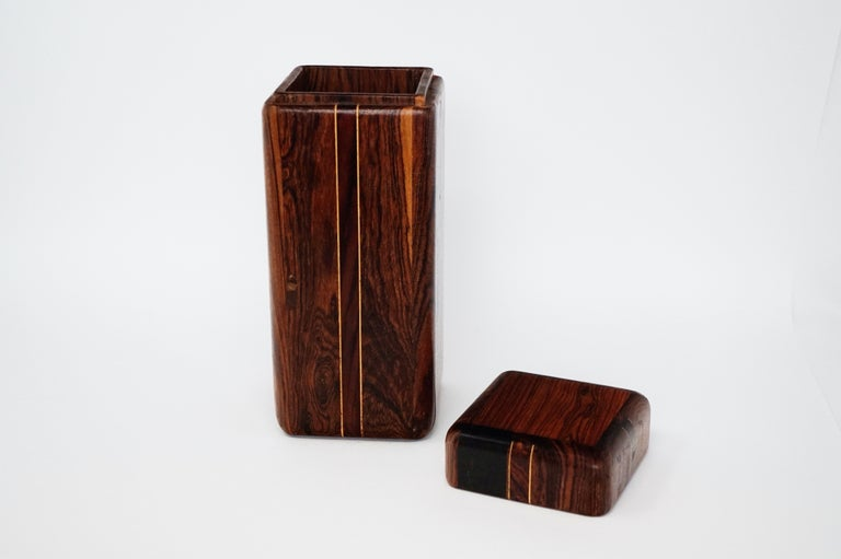 Large Cocobolo Rosewood Lidded Box by Don Shoemaker for Senal S.A., Signed For Sale 1