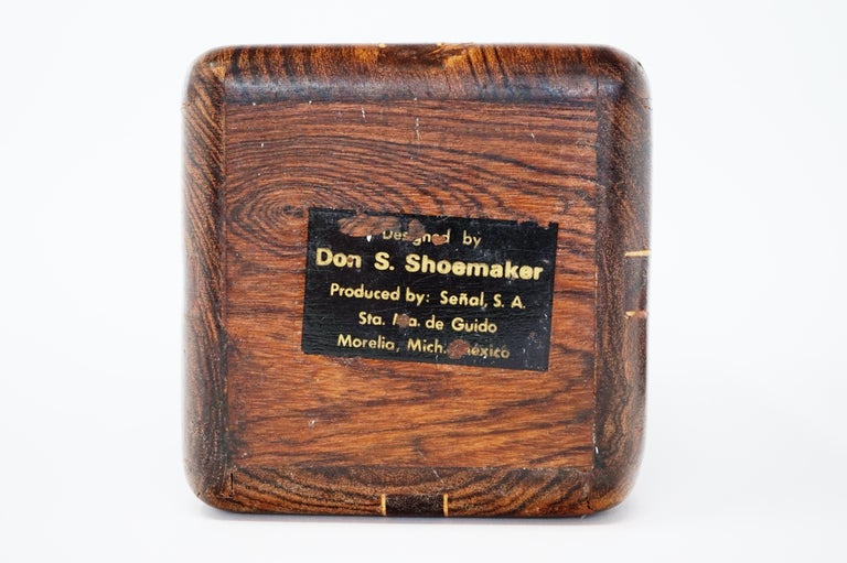 Large Cocobolo Rosewood Lidded Box by Don Shoemaker for Senal S.A., Signed For Sale 2