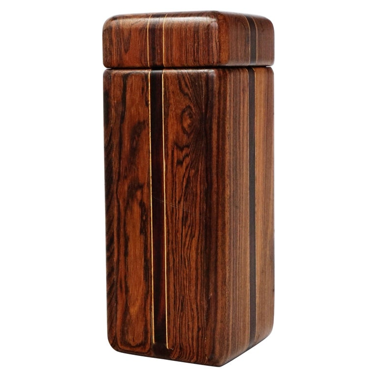 Large Cocobolo Rosewood Lidded Box by Don Shoemaker for Senal S.A., Signed For Sale