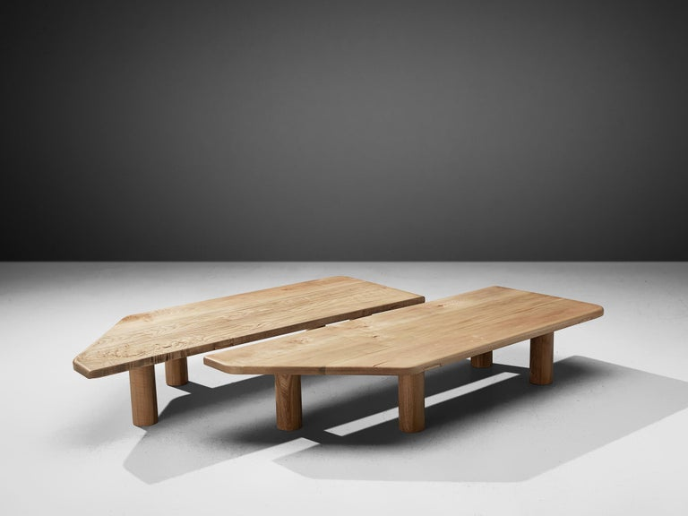 Large coffee table, ash, Scandinavia 1960s.  Robust coffee table with two symmetric pieces. The table has a strong architectural appearance, the thick legs giving it a sturdy base. The robust character of the table is somewhat softened by the