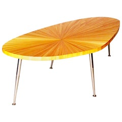 Large Coffee Table in Gold Straw Marquetry, Radiant Sun Design, 1960s, France