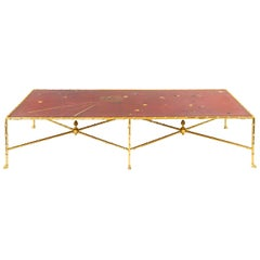 Large Coffee Table in Red Lacquer and Gilt Brass, Contemporary Work