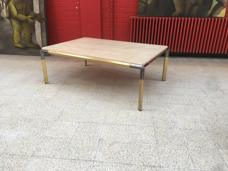 Large Coffee Table in Travertine and Brass, circa 1970 For Sale 5