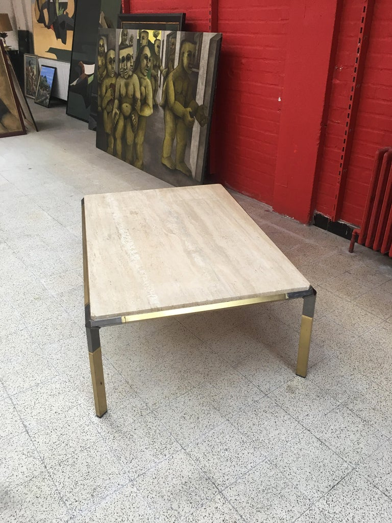 Large Coffee Table in Travertine and Brass, circa 1970 For Sale 6