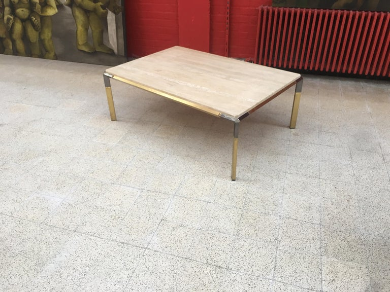Large Coffee Table in Travertine and Brass, circa 1970 For Sale 7