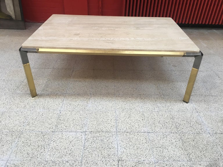 Mid-Century Modern Large Coffee Table in Travertine and Brass, circa 1970 For Sale