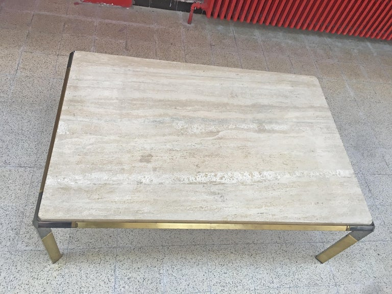 Large Coffee Table in Travertine and Brass, circa 1970 In Good Condition For Sale In Saint-Ouen, FR