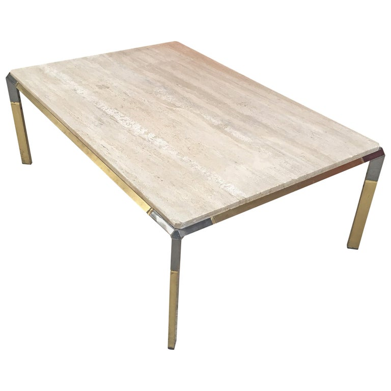 Large Coffee Table in Travertine and Brass, circa 1970 For Sale