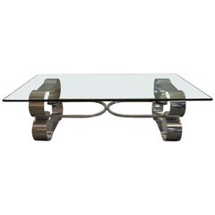 Large Coffee Table with Thick Glass Top