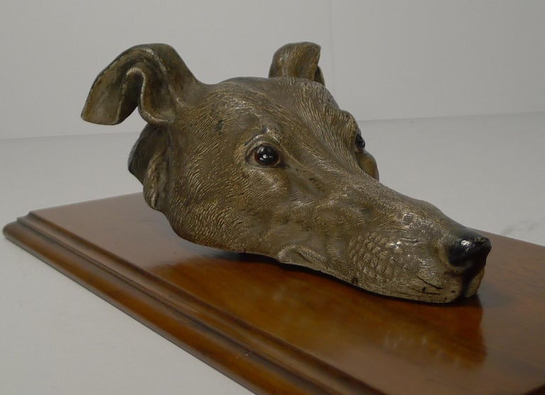 Late Victorian Large Cold Painted Bronze Letter / Desk Clip, Dog / Greyhound, circa 1890 For Sale