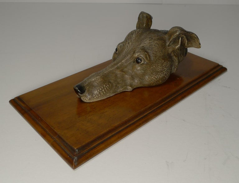 Austrian Large Cold Painted Bronze Letter / Desk Clip, Dog / Greyhound, circa 1890 For Sale