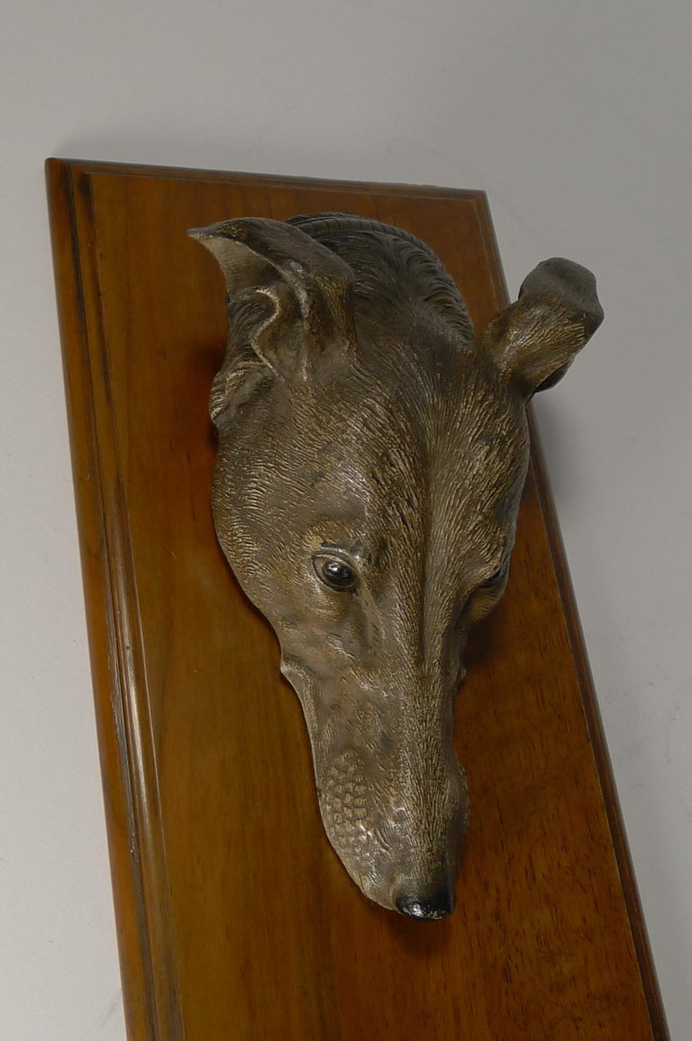 Late 19th Century Large Cold Painted Bronze Letter / Desk Clip, Dog / Greyhound, circa 1890 For Sale