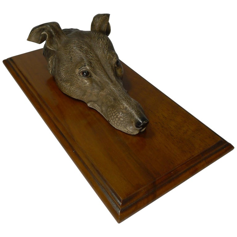 Large Cold Painted Bronze Letter / Desk Clip, Dog / Greyhound, circa 1890 For Sale