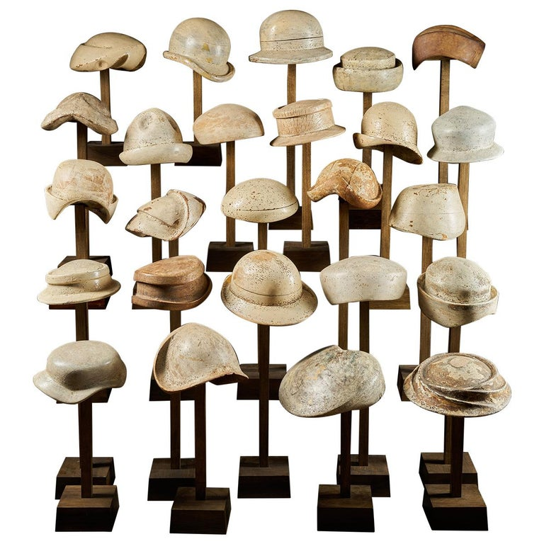 Large Collection of 25 Wooden Hat Forming Shape Models on Custom Made Stands For Sale