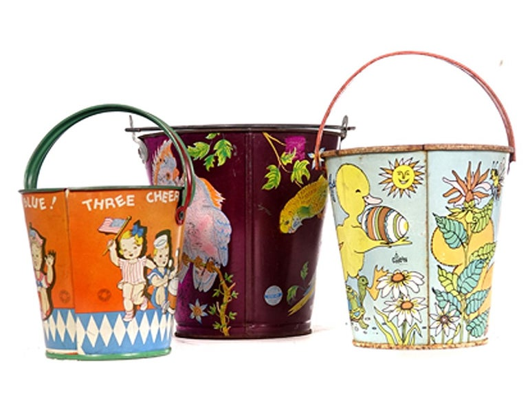 Large Collection of Antique Toy Pails For Sale 4